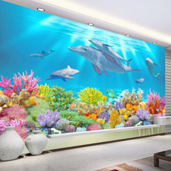 3d Room Wallpaper Background Dolphin